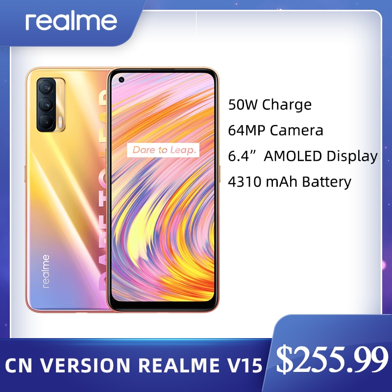 Перейти на Алиэкспресс и купить Realme V15 китайская версия 6 ГБ 128 5G мобильный телефон 6,4 дюймFHD + безрамочный экран SuperAMOLED Dimensity 800U Octa Core 4300 мА/ч, 64MP 50 Вт быстро Зарядное устройство
