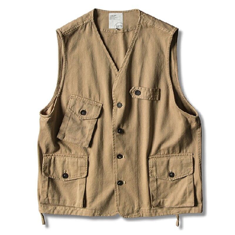 Summer Vest Work Vest Men Veste Sans Manches Mens Gilet Sans Manche Homme Gilet Homme Veste Homme Cotton Khaki Comfort Casual