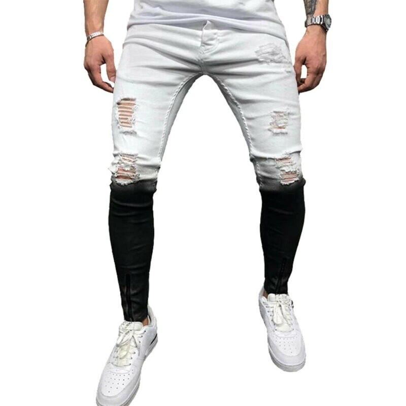 رجل موضة ممزق جينز سليم صالح تمتد الدينيم السراويل نحيل السائق بنطلون الولايات المتحدة