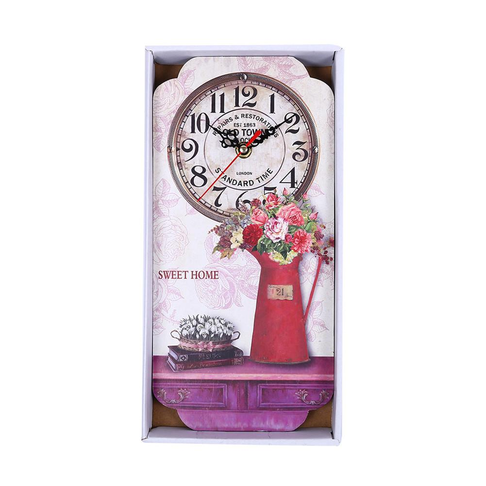 Reloj de pared de madera antiguo de estilo antiguo para oficina de cocina en casa Reloj de pared de barrido silencioso habitación interior decorativa decoración