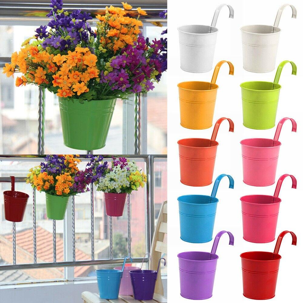 Maceta de Metal de hierro de 10 Uds., maceta para colgar, maceta extraíble para plantas, maceta para pared para el hogar, balcón, jardín, accesorios decorativos