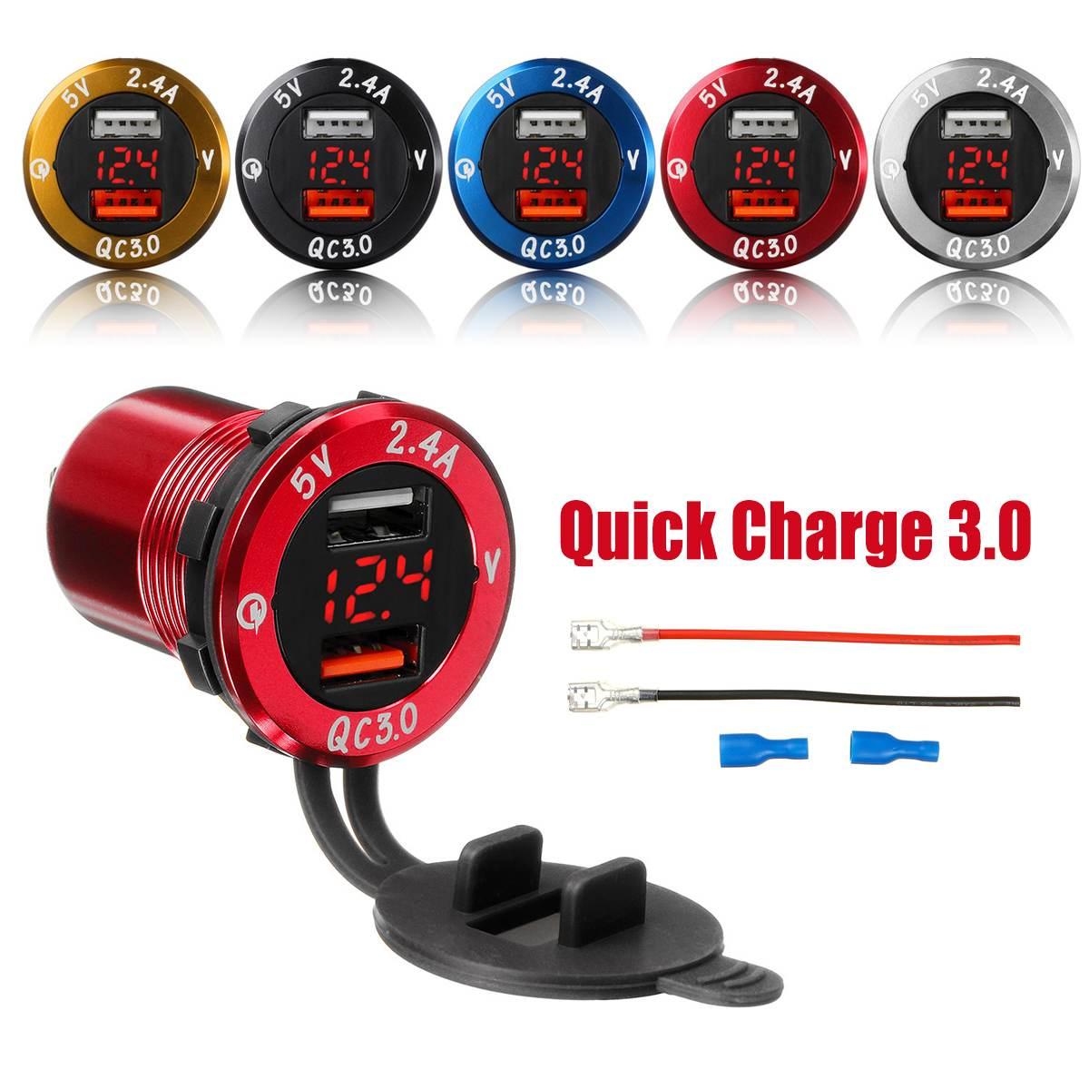 Amperímetro, com voltímetro digital, para motocicleta, barco, carro, 12-24v, tomada QC-3.0, dual usb, display super-carregamento rápido