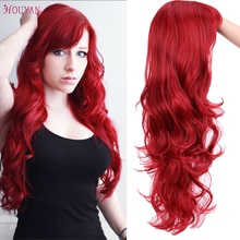 HOUYAN 22 Inch Long Wavy Wig with Bang  Red Hair Cosplay Wig Heat Resistant Synthetic Hair Wigs