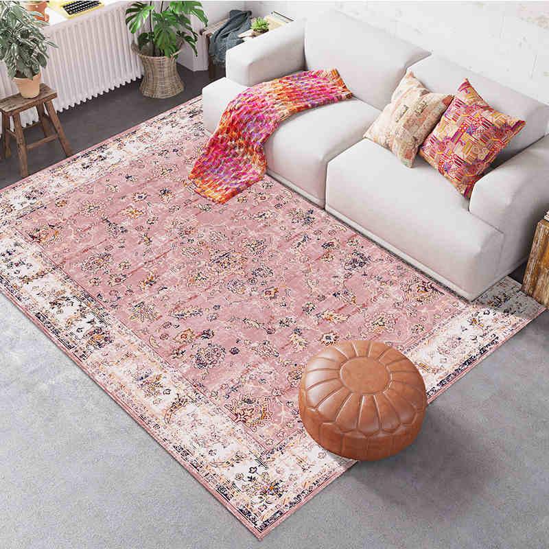 Alfombra nórdica moderna rosa para sala de estar, habitación de Chico, dormitorio, cabecera, bonito sofá, mesa, área, alfombra para cocina, baño, estudio, hogar