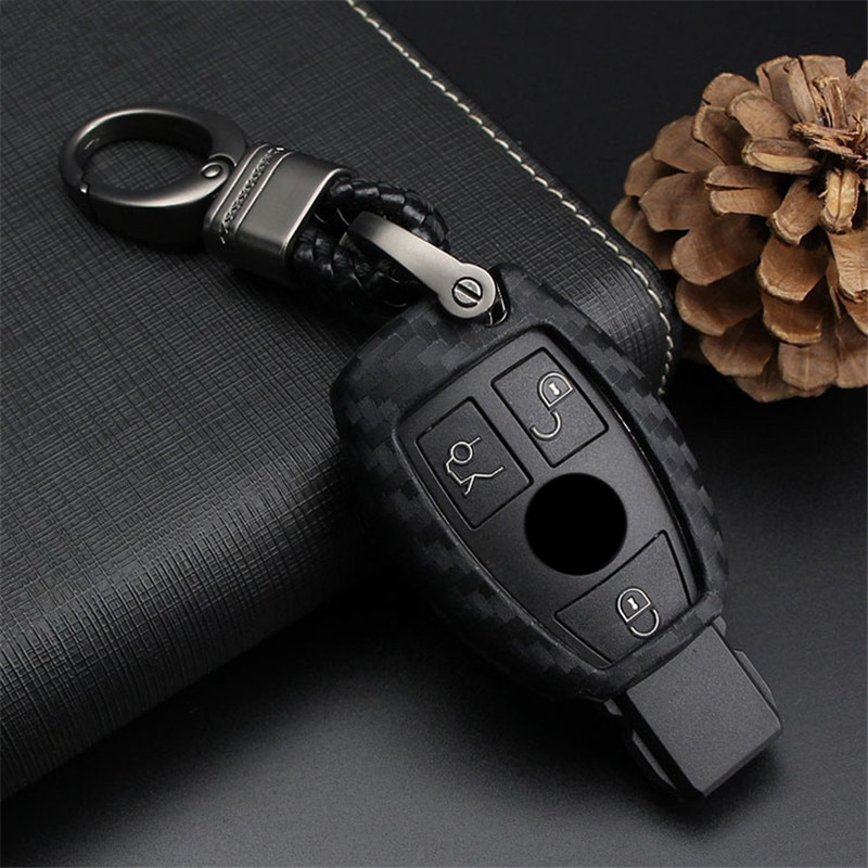 Diseño de fibra de carbono suave funda de llaves de silicona para Mercedes Benz B200 C180 E260L S320 GLK300 CLA CLS S400 estilo de coche