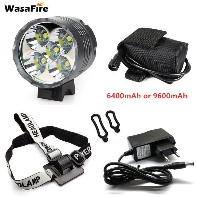 Светодиодный велосипедный светильник 5 * T6, 7000LM, велосипедный передний светильник MTB, Головной фонарь для велоспорта, фонарь + зарядное устро...