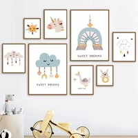 sun stars moon goose rabbit unicorn wall art canvas painting nordic posters and prints cartoon animals decor pictures kids room