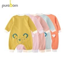 Pureborn Newborn Unisex Baby Clothes Cartoon Fox Cotton Baby Boy Rompers Pajamas Spring Autumn Baby Girl Clothes