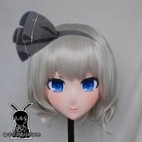 rabbit 13 resin crossdress pretty girl head lolita doll mask cartoon anime youmu konpaku cosplay kigurumi mask crossdresser