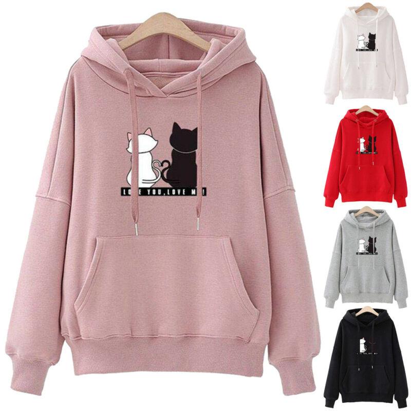 Women Cute Cat Print Hoodie Fashion Drop Shoulder Casual Long Sleeve Sweatshirt Hooded Jumper Sweatshirt Pullover Coat Top