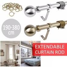 190-380cm Universal Curtain Rod Pole Rail Finial Set Bronze Silver Extendable Curtain Rod & Finials Set Curtain Accessories