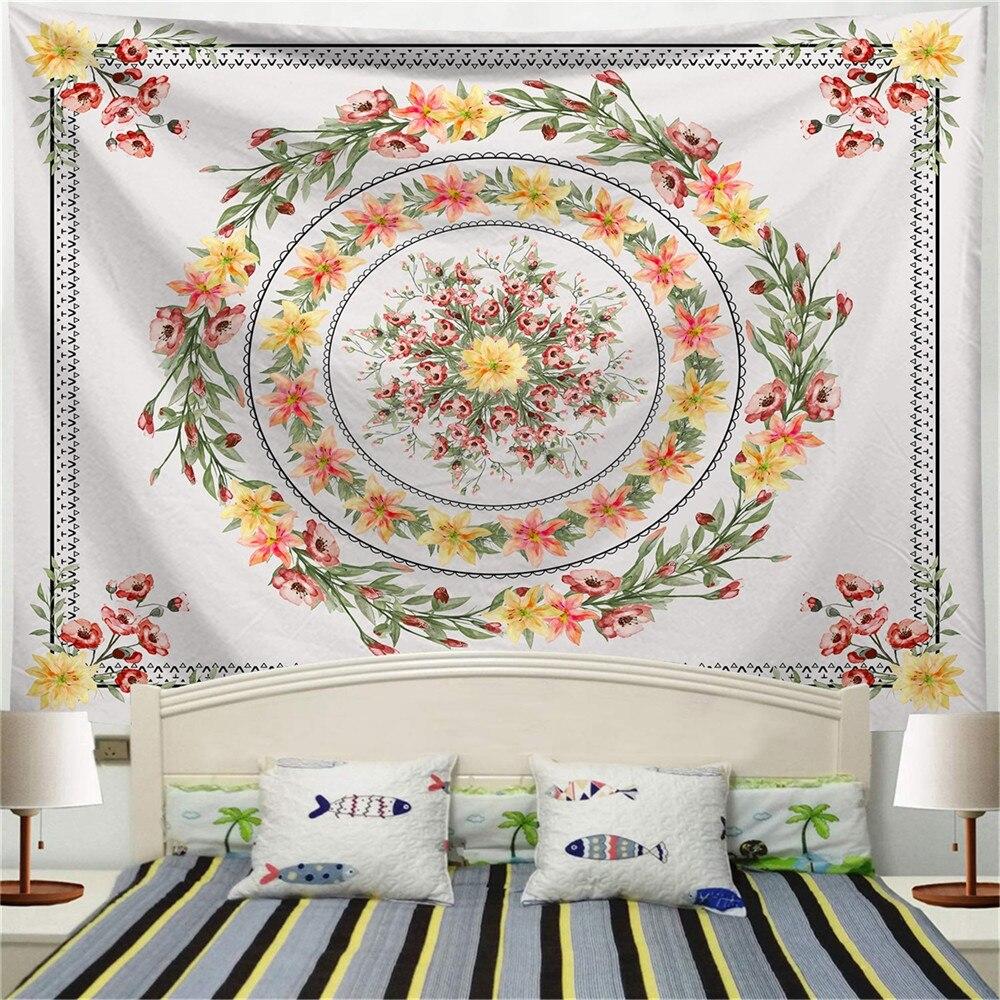 Tapiz decorativo de cabecera 95x73cm, colcha colgante de pared con patrón bohemio, artículos de decoración de hogar Chic