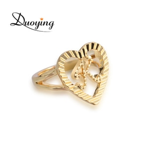 Duoying Custom Name Rings Gold Personality Hip-Hop Ring Women Fashion Punk Letter Ring Heart Shape Gifts For Christmas