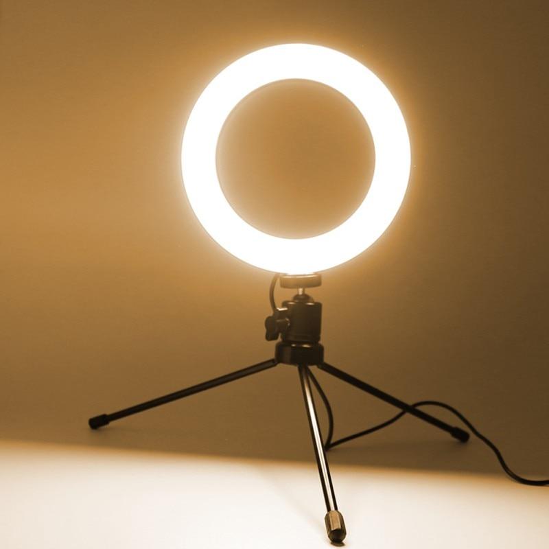Anillo de luz LED para fotografía, luz de 6 pulgadas para Stream, palo de Selfie para teléfono inteligente, luces de Streaming en vivo, soporte de trípode para lámpara de fotografía