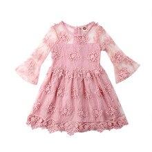 Pudcoco-robe de soirée en dentelle   Vêtements de demoiselle dhonneur, à manches longues, dos nu, motifs floraux, pour bébés filles, nouvelle collection