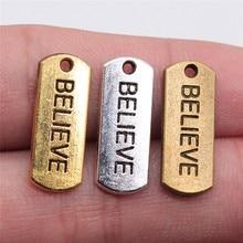 20 pièces 21x8mm croire étiquette pendentifs à breloques pour la fabrication de bijoux Antique or croire étiquette pendentifs charme croire étiquette