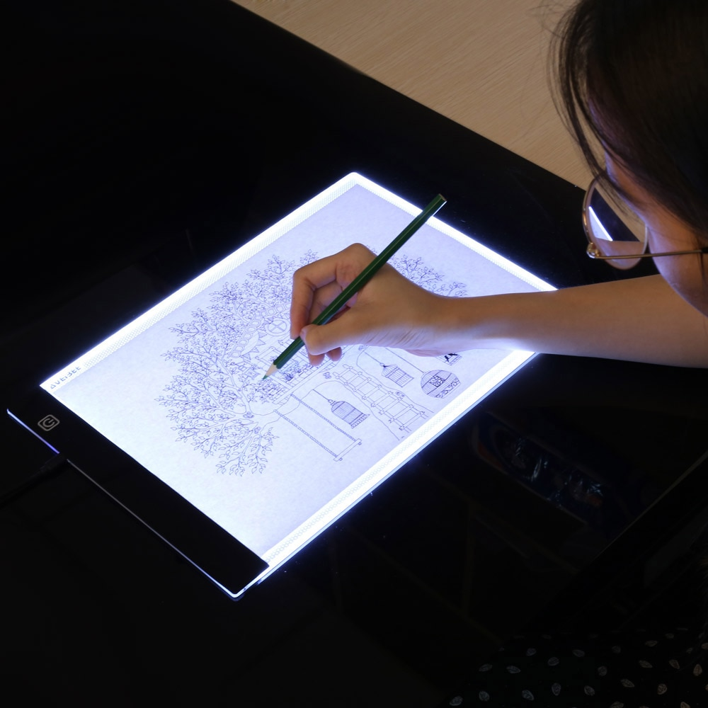 Pizarra electrónica LED A4, almohadilla ligera para dibujo, tableta, bloc de dibujo, libro de bocetos, Lienzo en blanco para pintar, acuarela, pintura acrílica