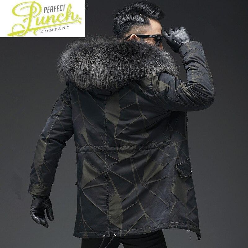 الفراء الحقيقي معطف الرجال باركاس الأرنب الطبيعي الفراء بطانة الشتاء سترة الرجال الراكون الكلب الفراء طوق دافئ سترة Hombre L19-2211