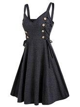 Wipalo-Robe courte pour femmes de grande taille, Robe courte avec des boutons latéraux, sans manches, ligne a, couleur unie, 3XL, collection décontracté