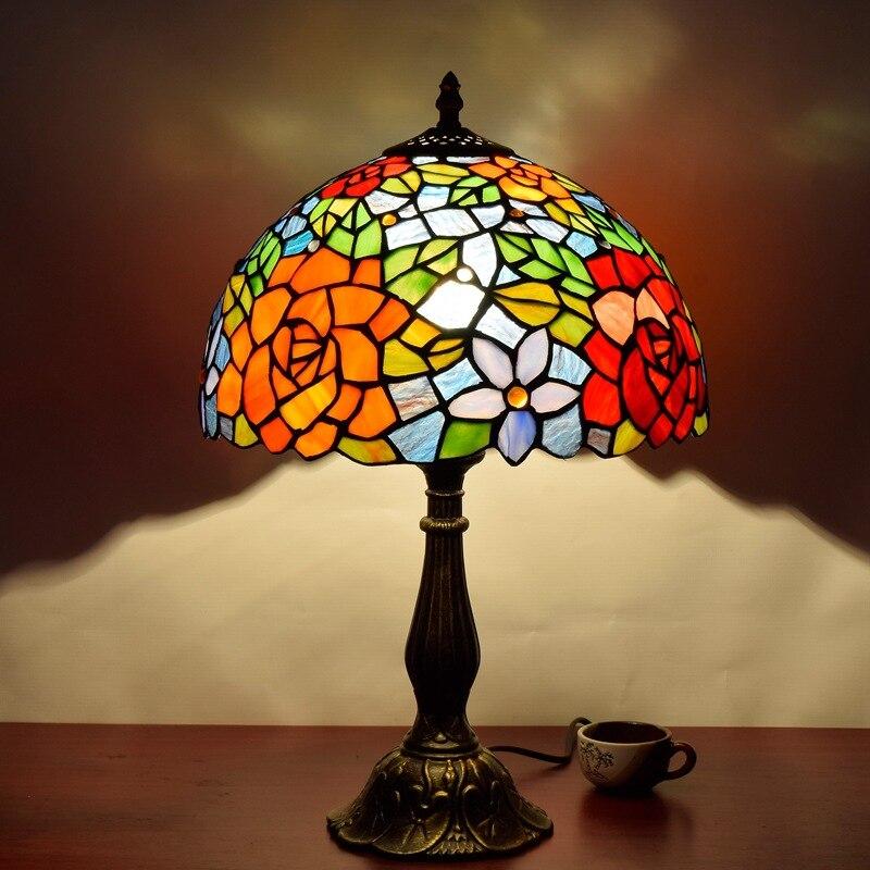 Европейский стиль креативная пасторальная Роза бар отель спальня прикроватная настольная лампа Американский Тиффани цветная стеклянная л...