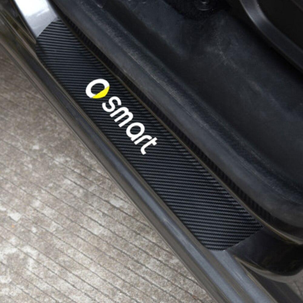 Para smart fortwo forfour forjeremy carro scuff placa do peitoril da porta adesivos de fibra carbono protetor do risco automóvel tuning acessórios
