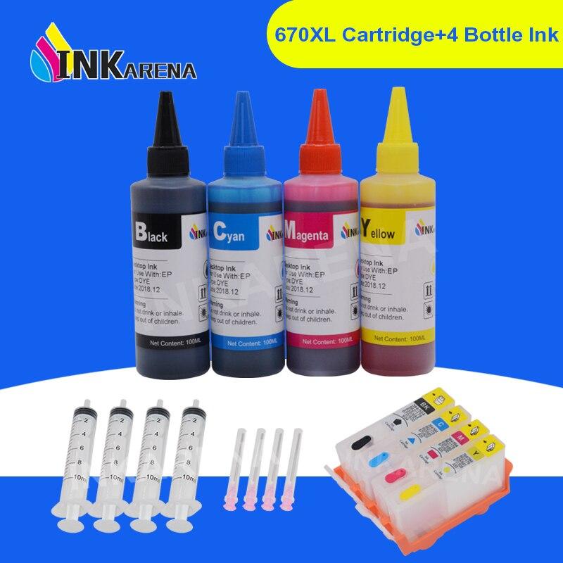 INKARENA 4 botella de tinta + 670 XL repuesto para HP 670XL cartuchos de tinta de la impresora para Deskjet serie tinta ventaja 3525, 4615, 4620, 4625