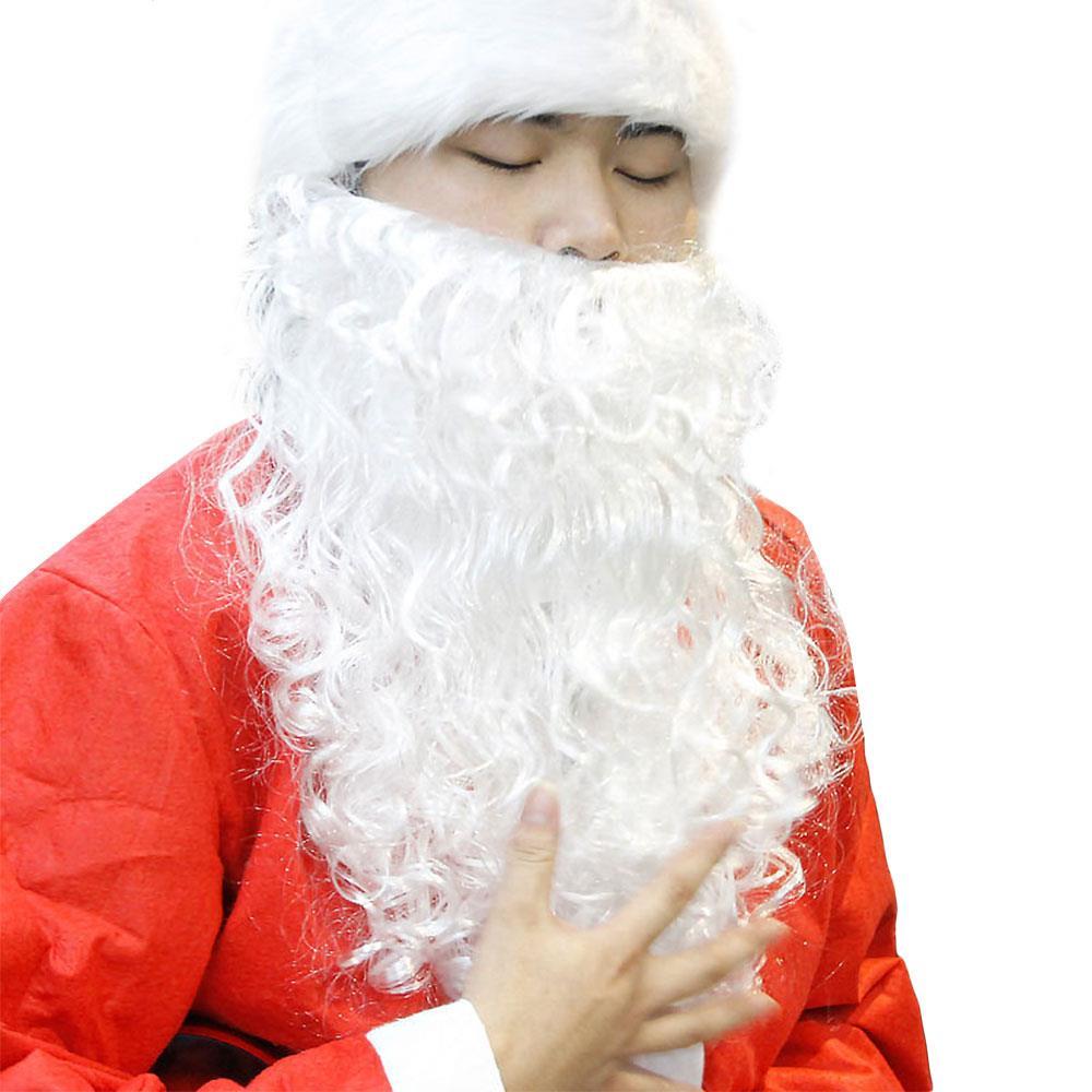 Decoración navideña de Papá Noel con bigote y barba, recuerdo de fiesta, vestido Satan barba, bigote, blanco