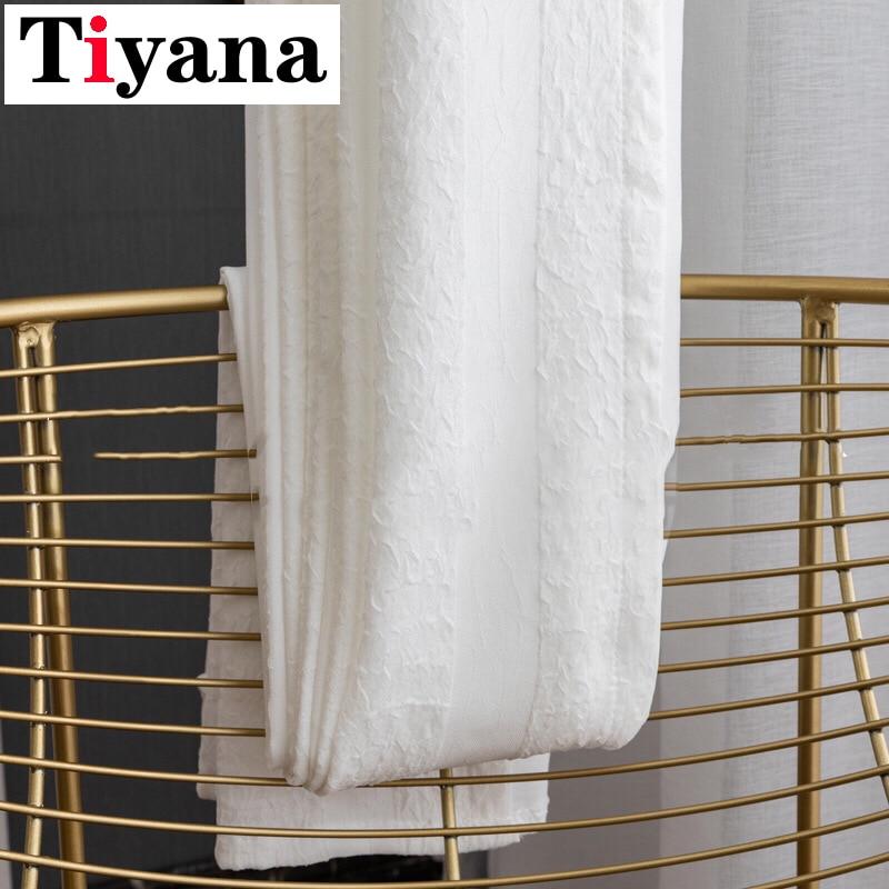 Cortinas para sala de estar, de alto grado, gruesas, modernas, blancas, plisadas, de tul gris, cortinas para ventanas, gasa de cocina JK039Y