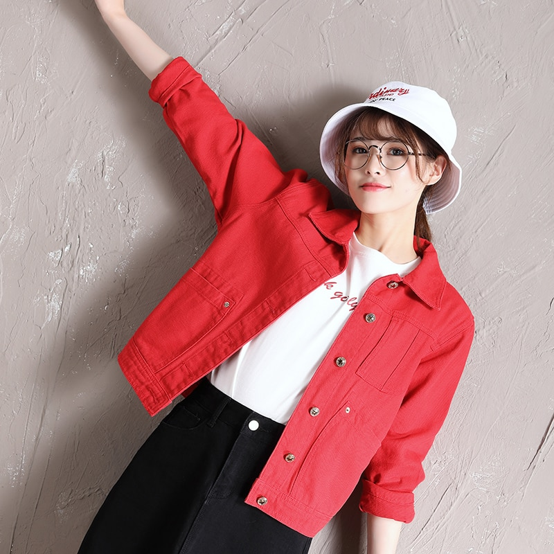 Red Denim Short Coat for Women 2021 Spring New Korean Style Loose Leisure All-Matching BF Harajuku W
