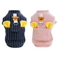 winter warm pet dog clothes classic stripe vest with d ring cartoon puppy design pet small dog coat french bulldog clothing