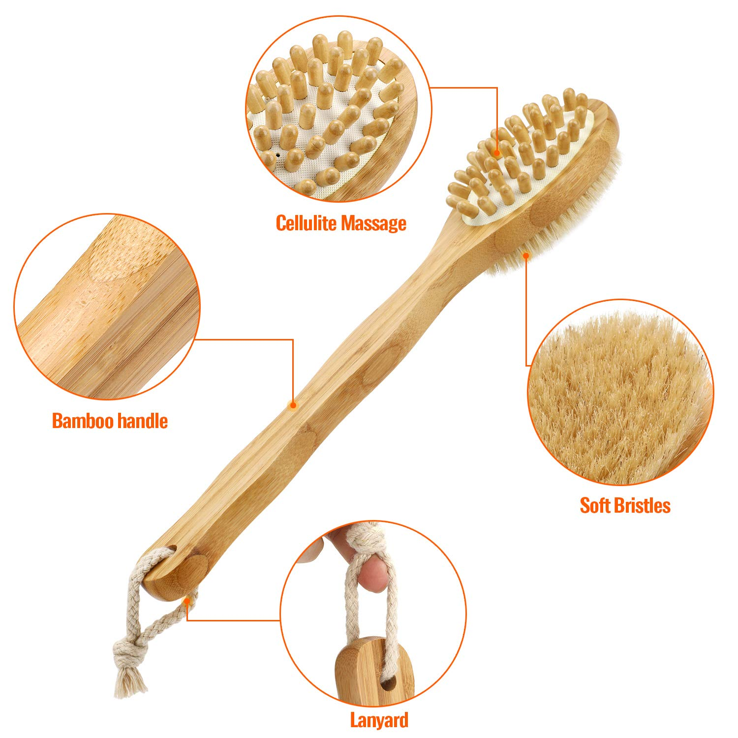 DREWTI Double-sided Bath Brush Long Handle Massages Back Thickens The Bamboo Bristles Scrubs Bodys Treatments Exfoliating Shower