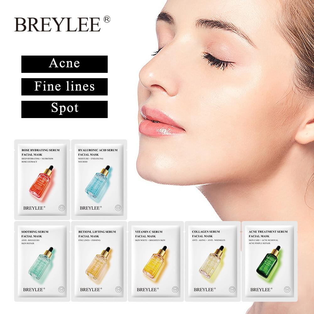 Breylee vitamina c máscara facial colágeno máscara de folha retinol tratamento acne soro clareamento hidratante cuidados com a pele anti envelhecimento