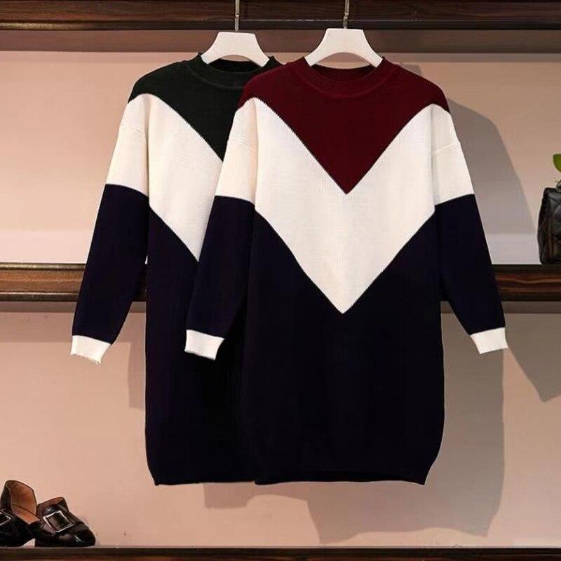 Женский осенне-зимний Свободный пуловер EHQAXIN, трикотажный свитер с круглым вырезом и толстой строчкой, с длинными рукавами
