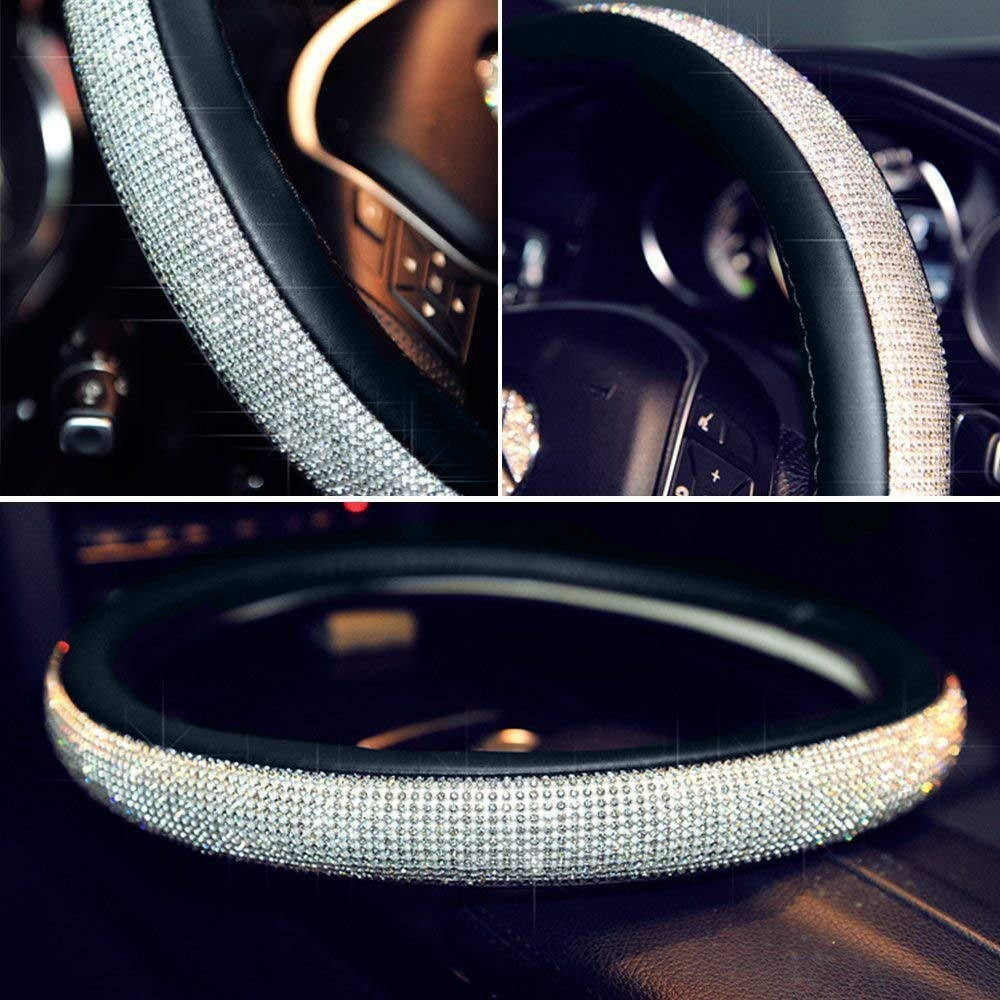 38CM Car Steering Wheel Cover Protector For Women Girls Bling Bling Rhinestones Crystal Car Interior Decoration Auto Accessories enlarge