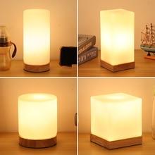 TUDA Wood Glass Table Lamp for Bedroom Desk Lamp Feeding Bedside Lamp Girls Bedroom Study Decoration Night Light