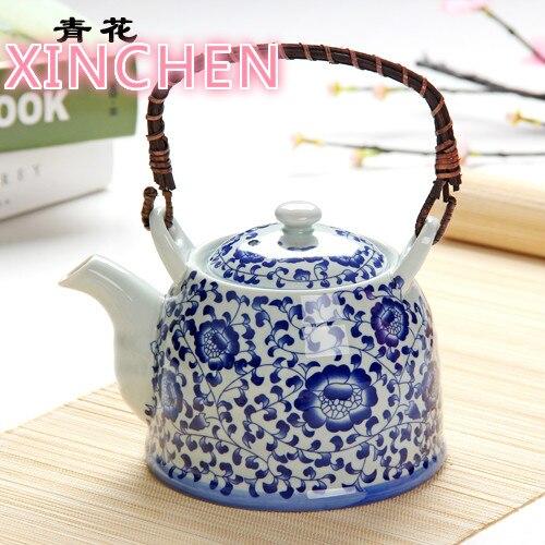 إبريق شاي سيراميك بورسلين أزرق وأبيض ، سعة كبيرة 1000 مللي ، طقم شاي ريترو ، شاي صيني مع فلتر
