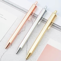 solid color metal ballpoint pen 1 0mm black ink luxury rose gold silver ball pens for writing business office school stationery