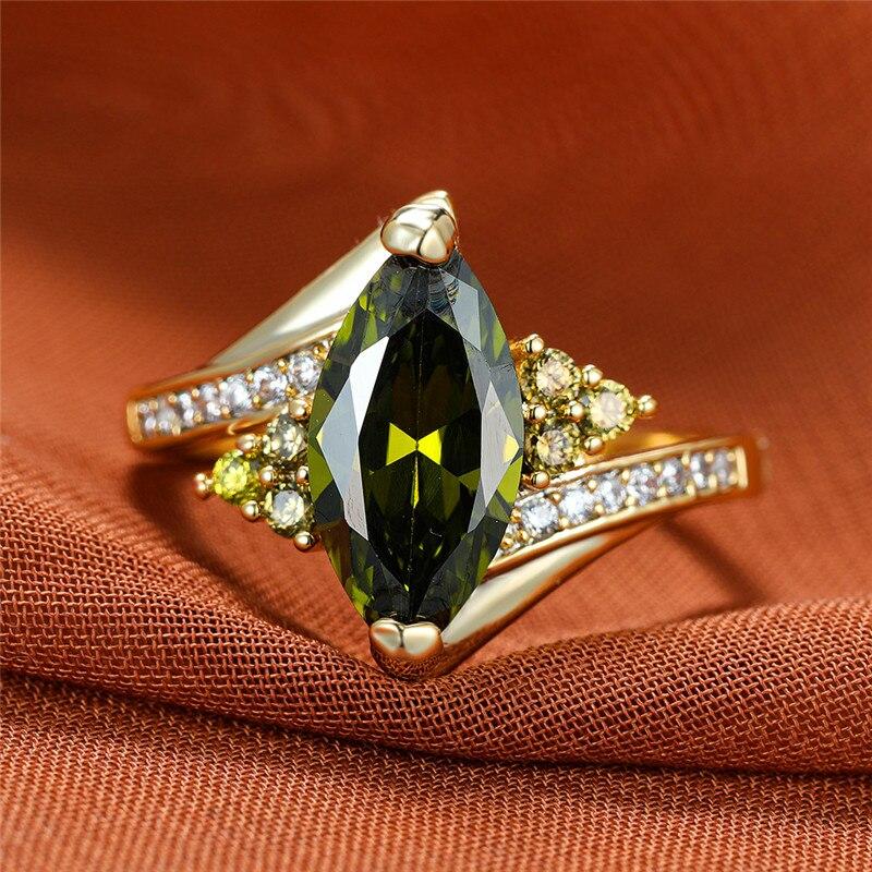 Vintage Weibliche Olivgrün Kristall Ring Luxus Gold Farbe Dünne Hochzeit Ringe Für Frauen Trendy Braut Geometrie Engagement Ring