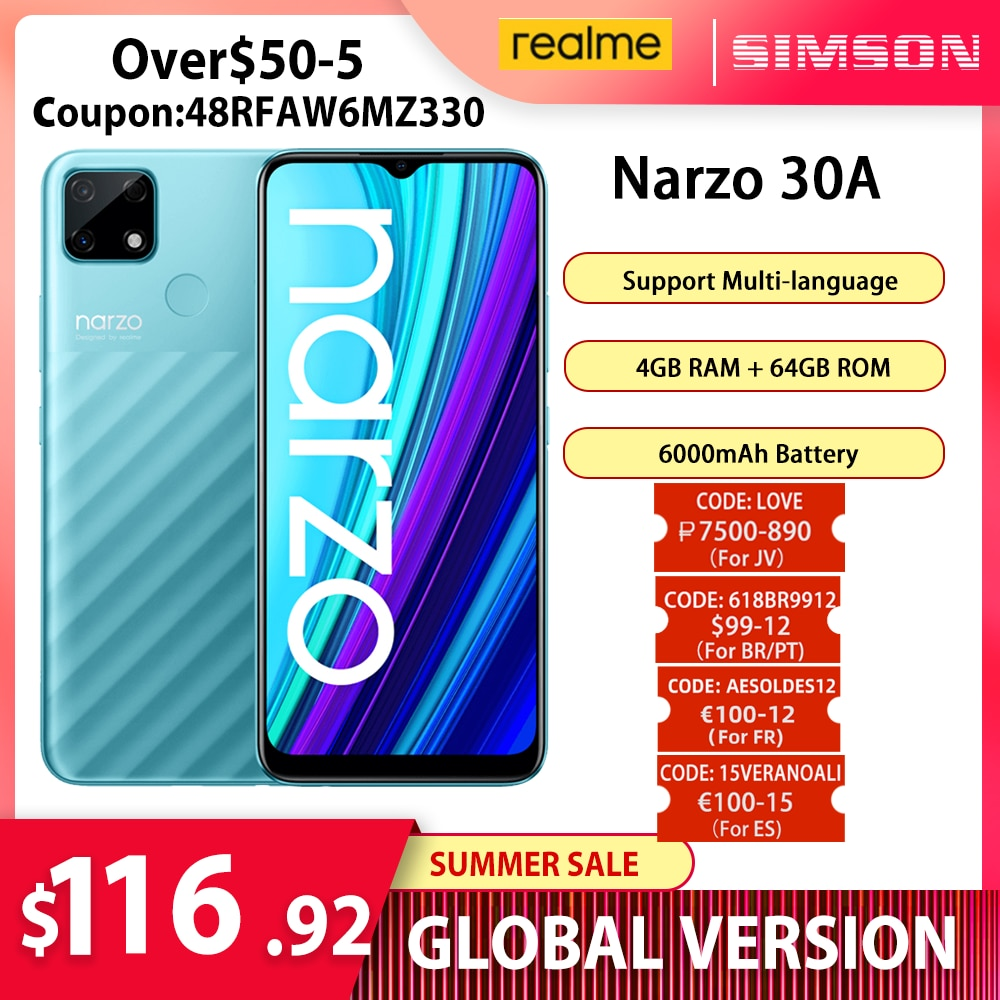 Перейти на Алиэкспресс и купить Смартфон глобальная версия realme Narzo 30A, 4 + 64 ГБ, Helio G85, 6,5 дюйма, 13 МП, ии, двойная камера, 6000 мА · ч, 18 Вт, быстрая зарядка