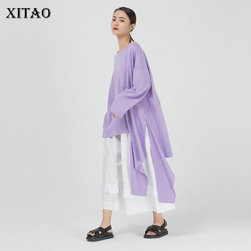 XITAO Fashion Trend Irregular T Shirt Women Hip Hop Personality Solid Color Tshirt Loose Long Sleeve Tee Street Tops DMY2858