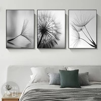 nordic black white dandelion canvas painting modern art print pictures for home decoration living room abstract wall poster