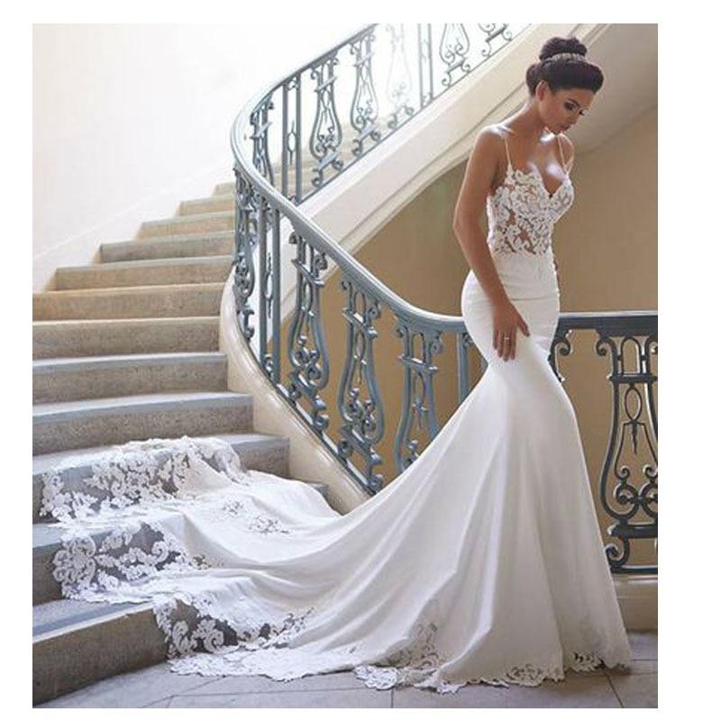 Vestido de boda sirena mangas 2021 Vestidos de novia Encaje Vintage cuello...