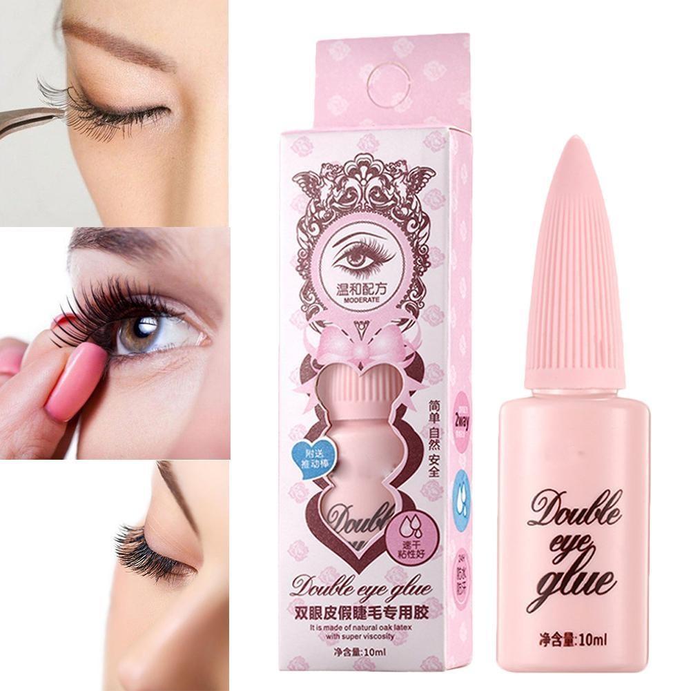 Moda mujer duradera y fácil de pegar belleza profesional doble pegamento párpado maquillaje falso pestañas de herramientas U5N9