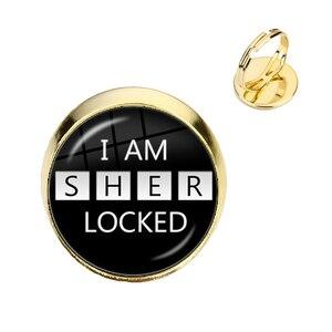 Handmade Vintage Sherlock Holmes 16mm Glass Cabochon Adjustable Rings I Am Sherlocked Jewelry For Kids Rings Art Gift