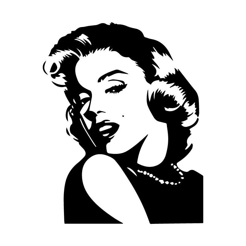 Pegatina de coche de personaje clásico Marilyn Monroe, accesorios de decoración de PVC, adhesivo creativo impermeable negro/blanco, 16cm * 13cm