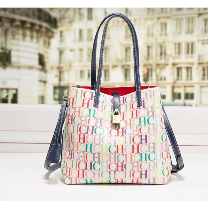 2021 جميل فاخر مصمم رسالة طباعة المرأة قفل دلو حقيبة يد حقائب اليد البلاستيكية ستوكات للإناث
