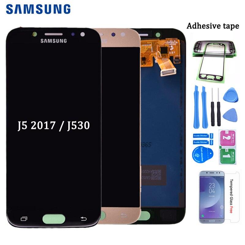 Для Samsung Galaxy J5 pro 2017 J530 J530F ЖК-дисплей с кодирующий преобразователь сенсорного экрана в сборе можно регулировать яркость