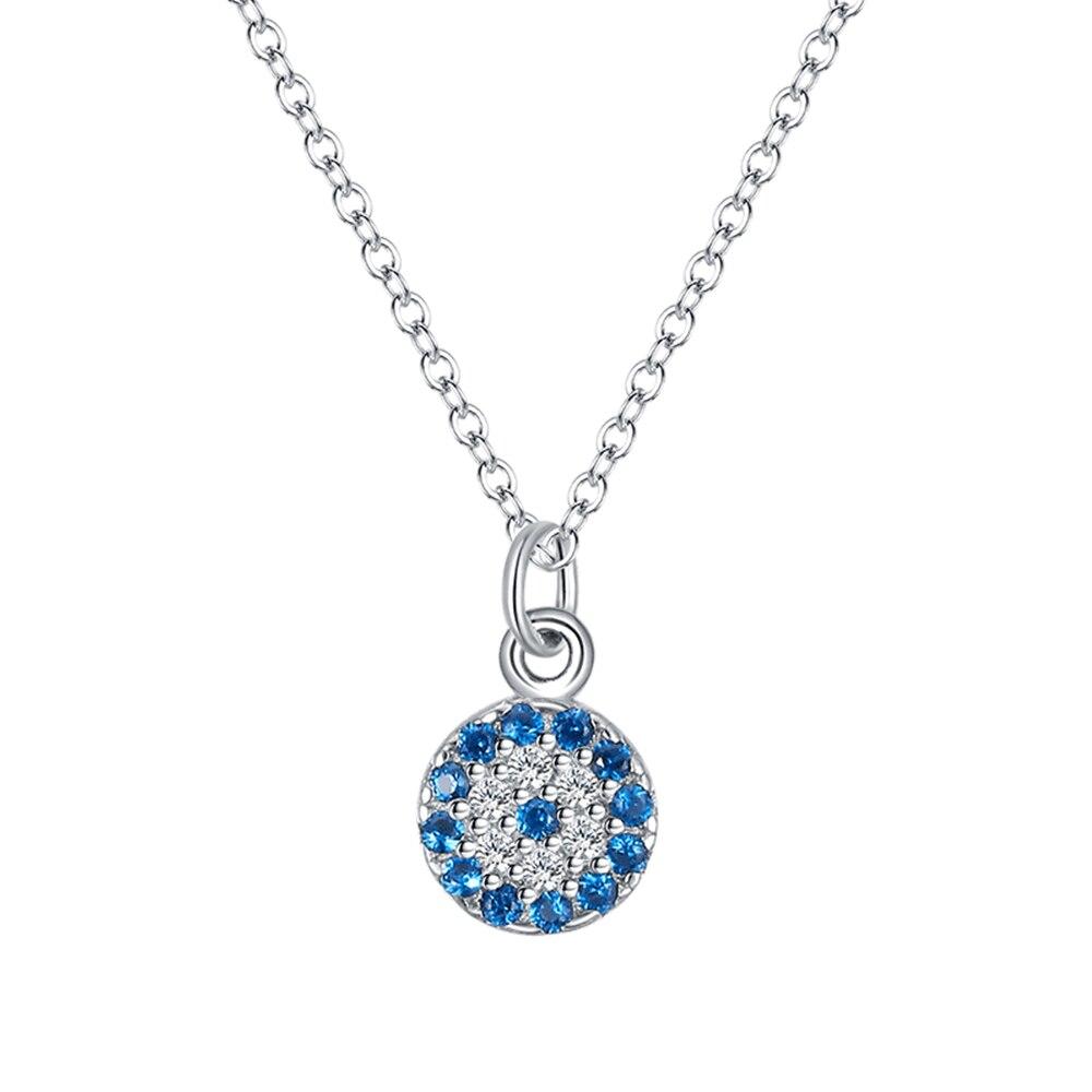 Collar con colgante de ojo de diablo de plata de ley S925, Diamante Azul de temperamento de ojo de Retro Azul para mujer con todo tipo de joyas de plata