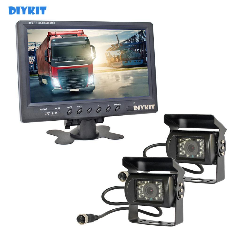Monitor de vista trasera de coche DIYKIT de 9 pulgadas impermeable CCD Cámara accesorios de aparcamiento Kit para autobús caballo remolque casa rodante 1V2