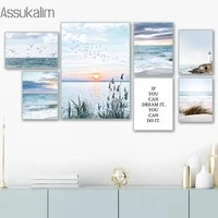 landscape canvas posters scandinavia painting sunshine wall prints beach art poster seagull print nordic wall picture home decor